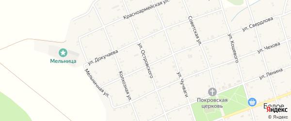 Улица Островского на карте Белого села Адыгеи с номерами домов