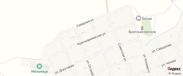 Красноармейская улица на карте Белого села Адыгеи с номерами домов