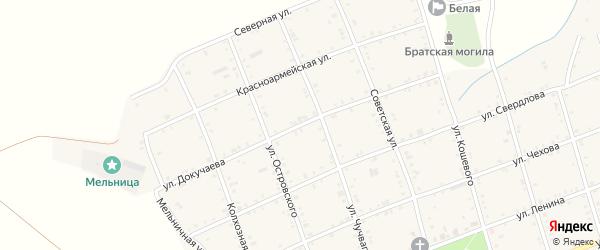 Улица Докучаева на карте Белого села Адыгеи с номерами домов