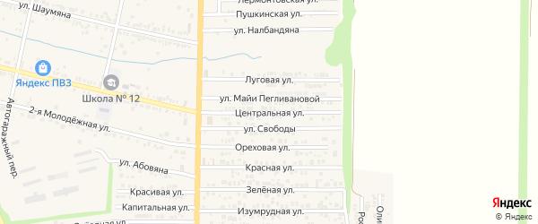 Центральная улица на карте хутора Красного Крыма Ростовской области с номерами домов