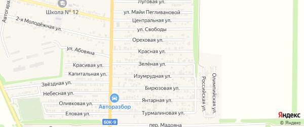 Зеленая улица на карте хутора Красного Крыма Ростовской области с номерами домов