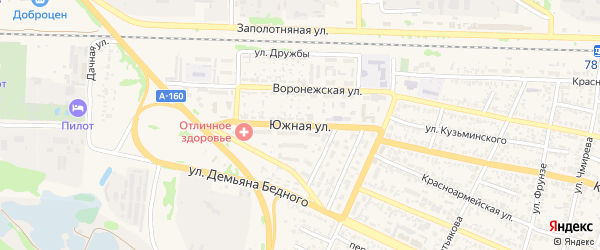 Южная улица на карте Усть-Лабинска с номерами домов