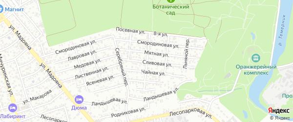 Миндалевый переулок на карте Ростова-на-Дону с номерами домов