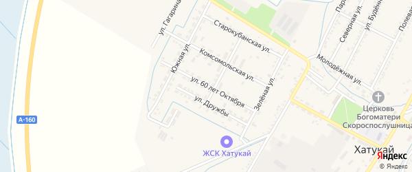 Улица 60 лет Октября на карте аула Хатукая Адыгеи с номерами домов