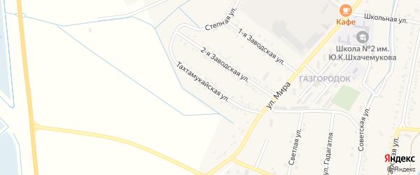 Тахтамукайская улица на карте аула Хатукая Адыгеи с номерами домов