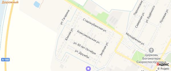 Комсомольская улица на карте аула Хатукая Адыгеи с номерами домов