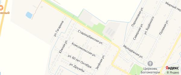 Старокубанская улица на карте аула Хатукая с номерами домов