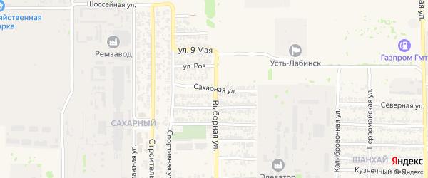 Сахарная улица на карте Усть-Лабинска с номерами домов