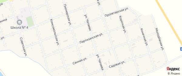 Партизанская улица на карте Белого села Адыгеи с номерами домов