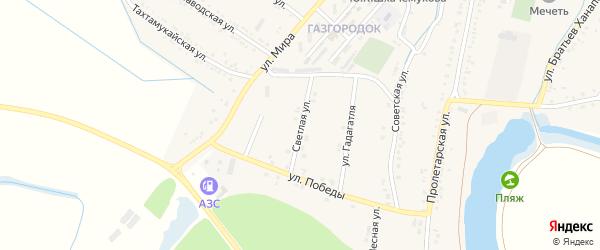 Светлая улица на карте аула Хатукая Адыгеи с номерами домов
