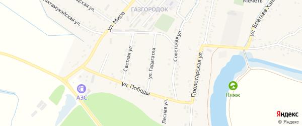 Улица Гадагатля на карте аула Хатукая Адыгеи с номерами домов