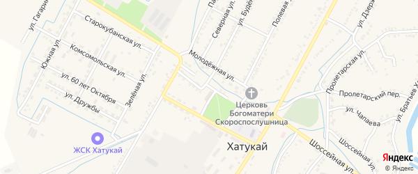 Улица Горького на карте аула Хатукая Адыгеи с номерами домов