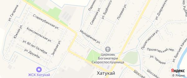 Молодежная улица на карте аула Хатукая Адыгеи с номерами домов