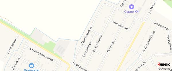 Парниковая улица на карте аула Хатукая Адыгеи с номерами домов