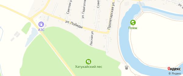 Лесная улица на карте аула Хатукая Адыгеи с номерами домов