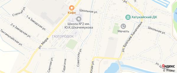 Советская улица на карте аула Хатукая Адыгеи с номерами домов