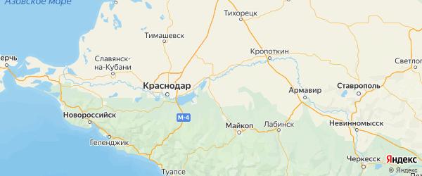 Карта Красногвардейского района Республики Адыгеи с городами и населенными пунктами