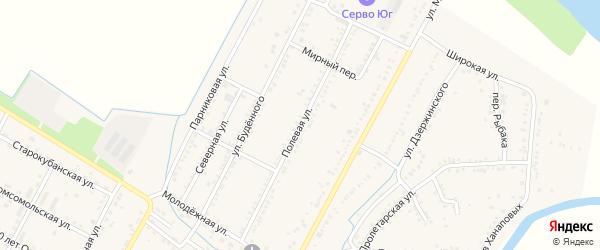 Полевая улица на карте аула Хатукая Адыгеи с номерами домов