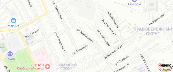 Улица Карбышева на карте Липецка с номерами домов