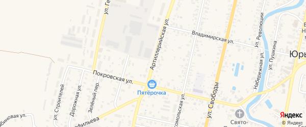Артиллерийская улица на карте Юрьева-Польского с номерами домов