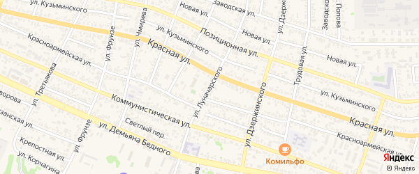 Улица Луначарского на карте Усть-Лабинска с номерами домов
