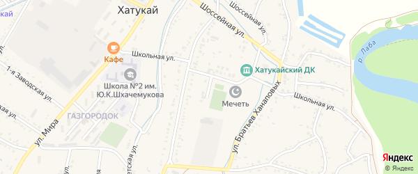 Адыгейский переулок на карте аула Хатукая Адыгеи с номерами домов