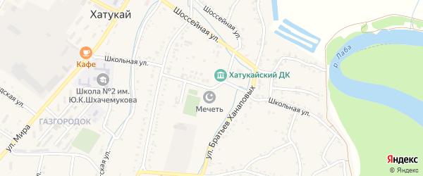 Школьная улица на карте аула Хатукая с номерами домов