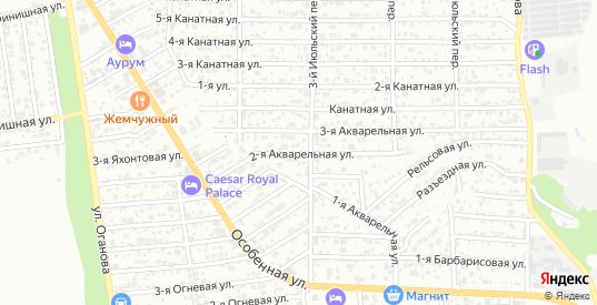 2-я Акварельная улица в Ростове-на-Дону с номерами домов на карте. Спутник и схема онлайн