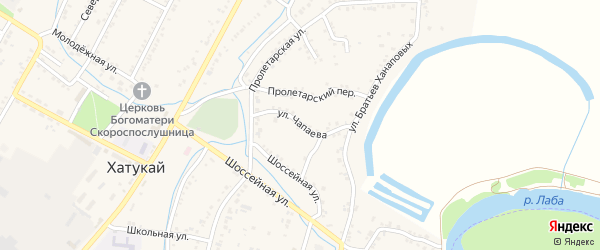 Улица Чапаева на карте аула Хатукая Адыгеи с номерами домов