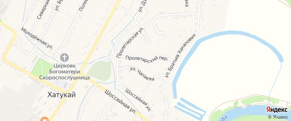 Пролетарский переулок на карте аула Хатукая Адыгеи с номерами домов