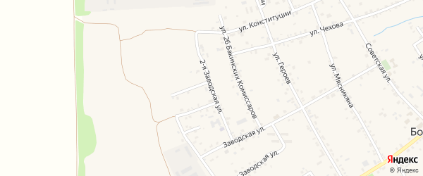 Заводская 2-я улица на карте села Большие Салы Ростовской области с номерами домов