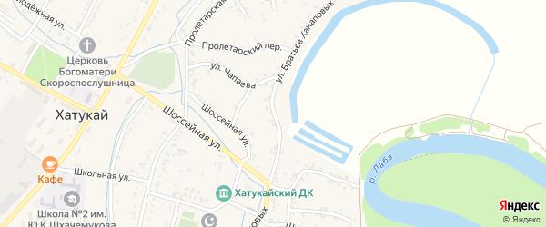 Улица Братьев Ханаповых на карте аула Хатукая Адыгеи с номерами домов