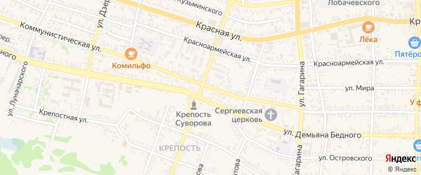 Коммунистическая улица на карте Усть-Лабинска с номерами домов