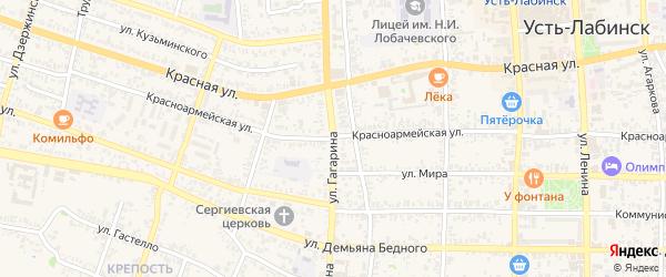 Улица Гагарина на карте аула Хатукая с номерами домов