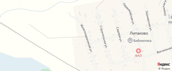 Железнодорожная улица на карте поселка Липаково с номерами домов