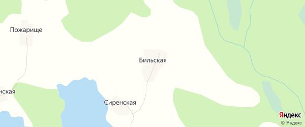 Карта Бильской деревни в Вологодской области с улицами и номерами домов