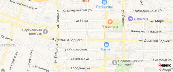 Улица Коминтерна на карте Усть-Лабинска с номерами домов