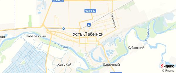 Карта Усть-Лабинска с районами, улицами и номерами домов