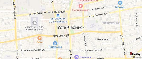 Огородный проезд на карте Усть-Лабинска с номерами домов