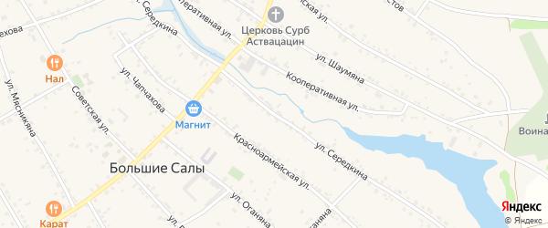 Улица Середкина на карте села Большие Салы Ростовской области с номерами домов