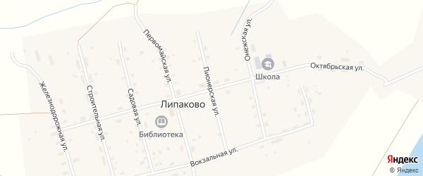 Октябрьская улица на карте поселка Липаково с номерами домов