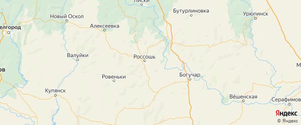 Карта Россошанского района Воронежской области с городами и населенными пунктами