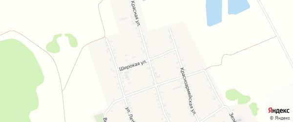 Широкая улица на карте аула Бжедугхабля Адыгеи с номерами домов