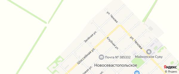 Зеленая улица на карте Новосевастопольского села Адыгеи с номерами домов