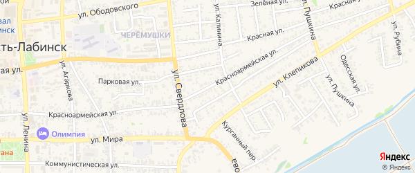Красноармейская улица на карте Усть-Лабинска с номерами домов