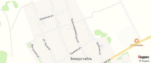 Красноармейская улица на карте аула Бжедугхабля Адыгеи с номерами домов