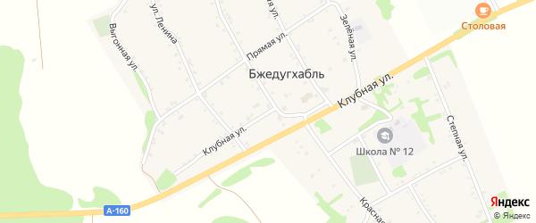 Клубная улица на карте аула Бжедугхабля Адыгеи с номерами домов