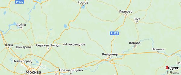 Карта Юрьев-польского района Владимирской области с городами и населенными пунктами