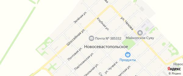 Почтовая улица на карте Новосевастопольского села Адыгеи с номерами домов