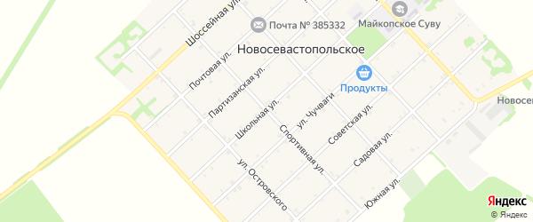 Спортивная улица на карте Новосевастопольского села Адыгеи с номерами домов